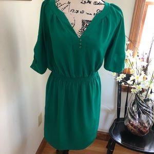 Shoshanna green roll up sleeve midi dress 6